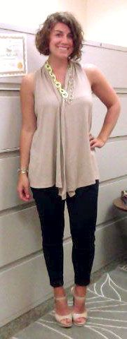 8/5/14--White tank top,  tan vest, dark skinny jeans, nude heels, silver watch, monogrammed bracelet, neon yellow and gold chain necklace.