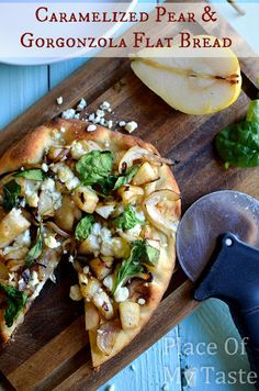 Made this on NYE-- so delicious!! Caramelized Pear and Gorgonzola Flat Bread, quick easy and tasty.