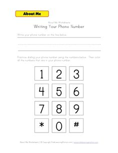 writing phone number worksheet