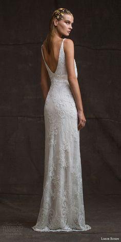 limor rosen bridal 2016 treasure sarina sleeveless lace wedding dress v neck straps blouson bodice low back view
