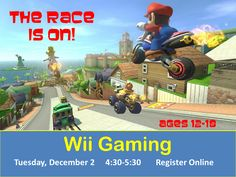Date/Time Date(s) - Tuesday, December 2, 20144:30 pm - 5:30 pm Location Williamson County Public Library Category(ies) No Categories Are you a teen? (12-18 years old) Do you like MarioKart 7, Super Smashbros Brawl & Wii Boxing? Come join us for for Wii Gaming! Challenge yourself and others plus make new friends.  The games begin in the Teen Room on the second floor at 2:30 p.m.