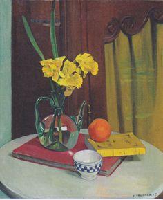 """Jug with yellow primroses by Felix Vallotton Size: 65x54 cm Medium: oil on canvas"""