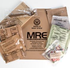 Military MRE (Meals, Ready to Eat)  You will need 2000 calories per day, minimum!  Food is heavy and so look for foods that give you the most calories for the lightest weight. The food you pick needs to have a balance between carbohydrates, protein and fat. 18-26 oz per depending on item. x10