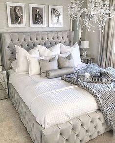 Grey Bedroom Decor, Glam Bedroom, Stylish Bedroom, Room Ideas Bedroom, Home Bedroom, Master Bedroom, Fancy Bedroom, Bedroom Signs, Design Bedroom