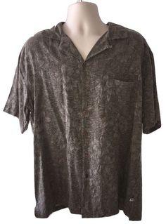 5fc5be87 Mens Island Shores Taupe 100% Silk Hawaiian Short Sleeve Button Down Shirt  XL #IslandShores