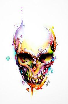 Skull Tattoo Flowers, Flower Skull, Skull Tattoos, Body Art Tattoos, Skull Artwork, Skull Painting, Art Sketches, Art Drawings, Watercolour Tattoo Men