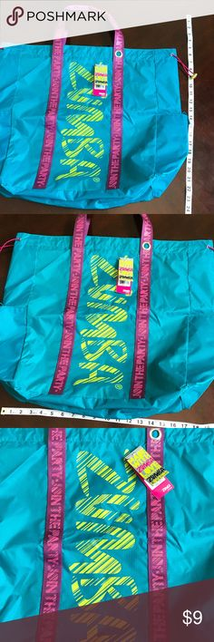 NWT Zumba tote bag Brand new tote bag for workout gear. Blue and pink Bags Totes