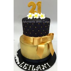 21st birthday cake. Black quilting effect top tier and gold painted bottom tier.