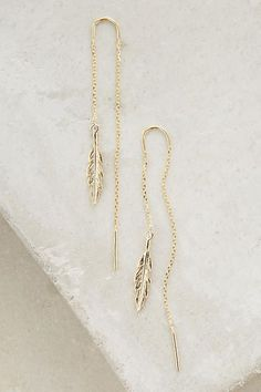 Threaded Feather Earrings - anthropologie.com