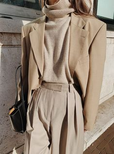 The Level Store Neutral Blazer , Chinti and Parker Neutral Roll-neck Sweater , Arket Wool Flannel Trousers , Jonak Lace-up Boots , Bottega Veneta Arco 33 Leather Bag Beige Outfit, Outfit Chic, Neutral Outfit, Fashion Mode, Minimal Fashion, Look Fashion, Daily Fashion, Winter Fashion, Fashion Outfits
