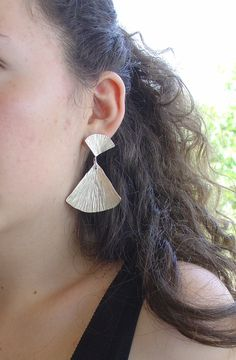 EARRINGS  handmade silver stud earrings SHELLS LONG by Vroullis, €67.00