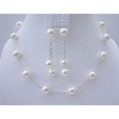 Price :$23.99 White Pearl Wedding Jewelry Handcrafted Necklace Set Material Used : White Pearls Sizes 9mm accented in good quality of Rhodium chain Necklace Length : 16 inches with no extension open & close with Silver coated rhodium toggle clasp Earrings : Double Rhodium Silver chain Dangling with 9mm & 8mm White Pearls & measures 3 inches