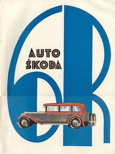 "Auto Skoda ad from the Czech magazine ""Salon"" Art Deco Posters, Car Posters, Vintage Advertisements, Vintage Ads, Retro Ads, Classic Motors, Classic Cars, Car Brochure, Vintage Cycles"
