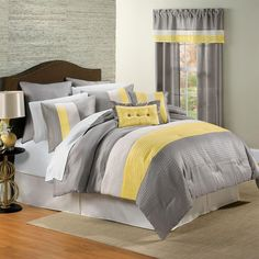 Yellow, white, grey and black bedding. I love this color scheme!