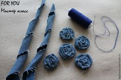 Best 12 This listing is for 6 upcycled denim flowers. Choose from 2 and inches, 3 inches, or 4 inches. The – SkillOfKing.Com - Her Crochet Fabric Flower Brooch, Fabric Flower Tutorial, Fabric Roses, Artisanats Denim, Denim And Lace, Denim Flowers, Cloth Flowers, Jean Crafts, Denim Crafts