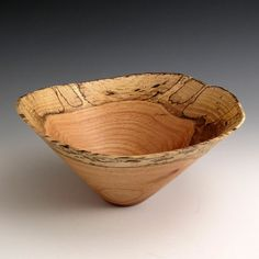 spalted red oak wood turned bowl