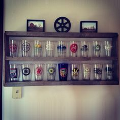 Pint glass display shelf, antique mirror frame with added shelves ...