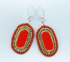 Sterling Silver Dangle Earrings  Large Coral Red by enchantedbeads, $54.00