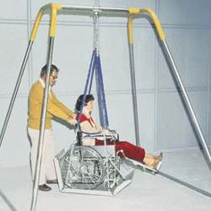 Wheelchair Swing - Indoor Swing Frame Only, Swings, Portable wabble-free steel frame is 8 H x 8 W x 8 D with 2 points of attachment.