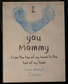 Footprint Craft for Mother's Day, Father's Day, Valentine's Day, Teacher Appreciation, Grandparents, etc. Easy to make and super CHEAP! Great for a gift from baby or toddler. by cecile