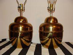 Large Vintage PAIR of Brass Ginger Jar Lamps Hollywood Regency Chinoiserie Lighting. SOLD.