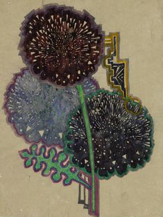 GLAHA 41076: Textile design: stylised dahlias - click to view CRE MACKINTOSH, Charles Rennie; (Scottish; 1868-1928)    Materials: pencil and watercolour on tracing paper (stuck onto board) Dimensions: 20.3 x 12.5 Frame: RUlarger image