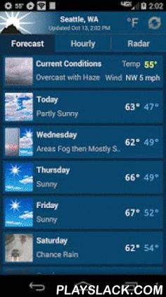 "NOAA Weather Unofficial  Android App - playslack.com ,  This weather app is not affiliated with NOAA or the National Weather Service. Products provided by NOAA are in the public domain, and this app's use of those products is compliant with NOAA/NWS terms of use.This app provides forecasts, animated radar, hourly forecast, and current conditions, all in an intuitive and easy to use interface. Just the information you need, provided accurately, quickly, and for your exact location.★ ""A…"