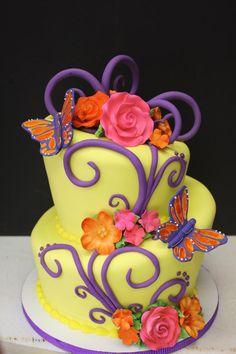 Yellow butterfly birthday cake