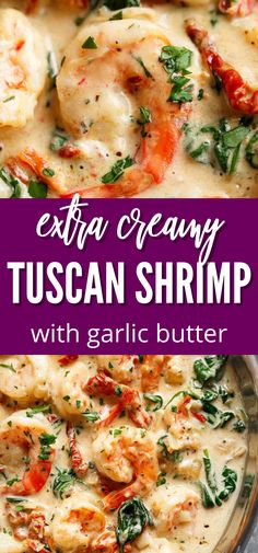 Creamy Garlic Butter Tuscan Shrimp is one simple yet satisfying shrimp skillet recipe. This is an easy and quick skillet shrimp recipe. Give this recipe a try if you are looking for something fun for dinner. #creamy #garlic #shrimp #butter #tuscan #seafood #recipe #best