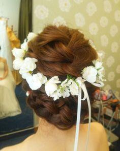 #ヘアアレンジ#花冠#編み込み#ヘアメイク#hair#hairarrange#updo#bridal#結婚式#花嫁