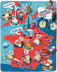 Tour de Fromage: Cover & Map by Elly Walton, via Behance