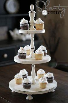 Shabby chic white cupcake display tower #wedding #cupcakes #cupcaketower #weddingcupcakes #dessert