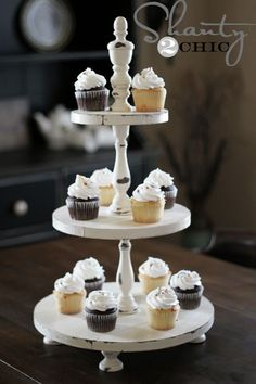 Shabby chic white cupcake display tower #wedding #cupcakes #cupcaketower #weddingcupcakes #dessert