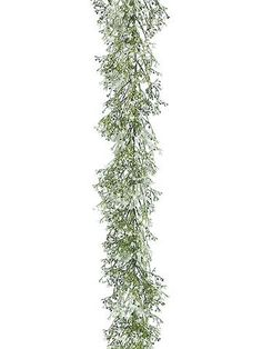 Find silk floral garlands for your wedding decorations like this white gypsophila garland with accent greenery. Perfect for rustic or vintage weddings, this charming white baby's breath garland is per