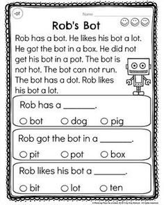Kindergarten Reading Comprehension Passages worksheets by word families. Rap the Dog from the -ap family. Great for fluency and word family practice. Phonics Reading, Reading Activities, Teaching Reading, Learning, Guided Reading, Free Reading, Classroom Activities, Reading Comprehension Worksheets, Reading Passages