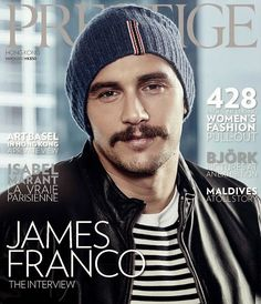 Photographed with a mustache, James Franco covers the March 2015 issue of Hong Kong Prestige in Gucci.