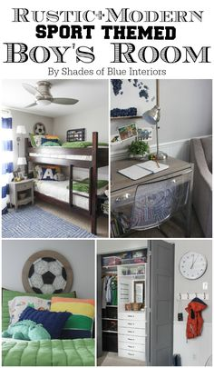 Boys' Room Makeover Reveal – Shades of Blue Interiors – Boy Room 2020 Modern Boys Rooms, Shared Boys Rooms, Kids Rooms, Blue Bedroom Decor, Bedroom Ideas, Bedroom Themes, Closet Built Ins, Boy Room, Rustic Modern