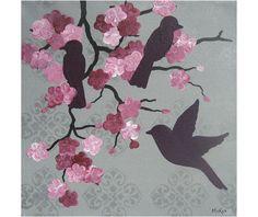 SALE Bird Art Print Shabby Romantic Gray Damask Pink by loriamckee
