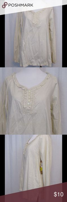 "NWT Bit & Bridle Off White Striped Top M NEW Brand: Bit & Bridle Size: M Color: Off White  Material: 100% cotton Care Instructions: machine wash  Bust: 40"" Length: 26""  All clothing is in excellent used condition. All clothes have been inspected and unless otherwise noted have no rips, holes or stains.   Cont: P14 Bit & Bridle Tops Blouses"