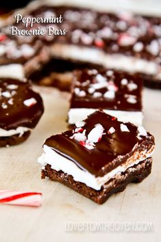 Peppermint Brownie Bars