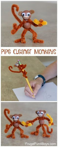 Do It Yourself Pet Property Guidance And Schematic Data Kids' Craft: Pipe Cleaner Monkeys Pipe Cleaners, Wooden Beads, Googly Eyes. Love How Posable They Are. Cute Crafts, Crafts To Do, Creative Crafts, Diy Crafts For Kids, Easy Crafts, Arts And Crafts, Children Crafts, Craft Ideas For Girls, Kids Craft Projects