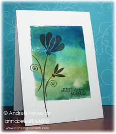 Just A Note by stampinandrea - Cards and Paper Crafts at Splitcoaststampers - Clean & simple cards - Just A Note. Background made by pressing ink pads onto an acrylic block then spritzing with water. Making Greeting Cards, Greeting Cards Handmade, Stencil, Card Making Techniques, Card Tutorials, Watercolor Cards, Card Tags, Flower Cards, Creative Cards