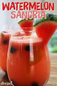 Fresh watermelon sangria is like summertime in a glass. Just blend watermelon into a juice, and pour over fresh fruit along with white wine, vodka, and orange liquor. Party Drinks, Cocktail Drinks, Fun Drinks, Beverages, Mixed Drinks, Sangria Recipes, Cocktail Recipes, Margarita Recipes, Refreshing Drinks