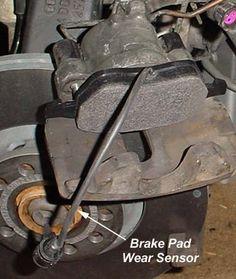 Brake Pad Sensor - Single caliper piston and inboard brake pad with brake pad wear sensor integrated into the pad.
