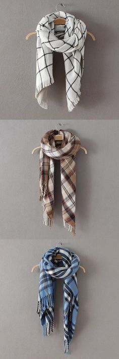 Woven Plaid Scarves