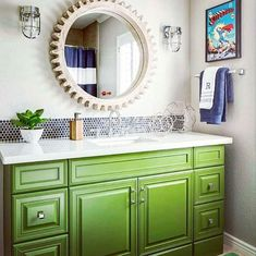Happy St. Pattys Day!!! This green vanity and colorful space designed by @jandjdesigngroup has my heart!! I just LOVE adding pops of color... especially in kids spaces!! @jandjdesigngroup nailed this bathroom!! . . . .#bathroom #bathroominspo #bathroominspiration #instabathroom #abmathome #modernbath #colorful #creative #houseideas #vanity #green #greenvanity #interiordesign #instadesign #instahome #kidsspace #kidsroominspiration #kidsroominspo #kidsspace #colorfulinspo