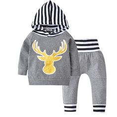 46f0cc78e7a2 Cute Deer Hooded Top + Pants 2pcs suit Kids Toddler Outfits Baby Outfits  Newborn