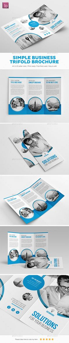 Simple Business Trifold Brochure Template 	InDesign INDD. Download here: http://graphicriver.net/item/simple-business-trifold-brochure/16653136?ref=ksioks