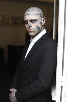 Rick Genest. This guy is cool as expletive-delete. Has full human anatomy tattooed to his body. AWESOME