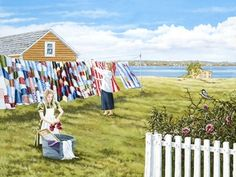 """""""Washday"""" by Norman Bursey So beautiful to see on the clothesline, true artistry. Bright Pictures, Ocean Sounds, Holiday Places, Newfoundland And Labrador, Canadian Art, Beautiful Sites, Stars At Night, Naive Art, Clothes Line"""